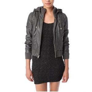 Urban Outfitters Faux Leather Grey Bomber Jacket